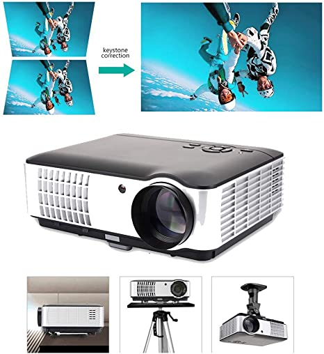 Video casero HD Proyector 3000 lúmenes 1280 * 800 con Pantalla de ...