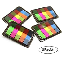 8 Packs Rainbow Color Double-Sides Sticky Notes Removable Index Tabs Bookmark Page Markers
