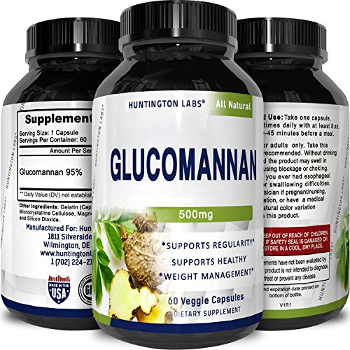 Pure Glucomannan Powder Bulk Supplements for Natural Constipation Relief Appetite Control Fiber Capsules to Lose Weight Weight Loss Pills for Women and Men Colon Cleanse Detox by Huntington Labs