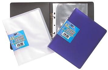 Archivador de anillas (A5, incluye 10 fundas transparentes de plástico): Amazon.es: Oficina y papelería