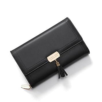 ML Billeteras para Las Mujeres, Moda PU Mini Cartera de Cuero Corto Bolsa de Embrague, señoras Multi Titular de Tarjeta Organizador Monedero,Black: ...