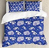 Surfboard Queen Size Duvet Cover Set by Ambesonne, Surfboards On Hippie Bus Motorcycle Hawaii California Graphic Design, Decorative 3 Piece Bedding Set with 2 Pillow Shams, Violet Blue Lilac White