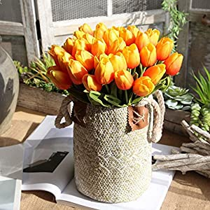 """Meide Group USA 10"""" Real Touch Mini Tulips Spring Flowers for Home Decor, Wedding Bouquets, and centerpieces (24 PCS) 3"""