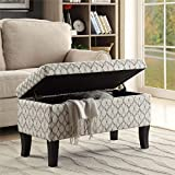 Convenience Concepts Designs4Comfort Winslow Storage Ottoman Ribbon Pattern Fabric