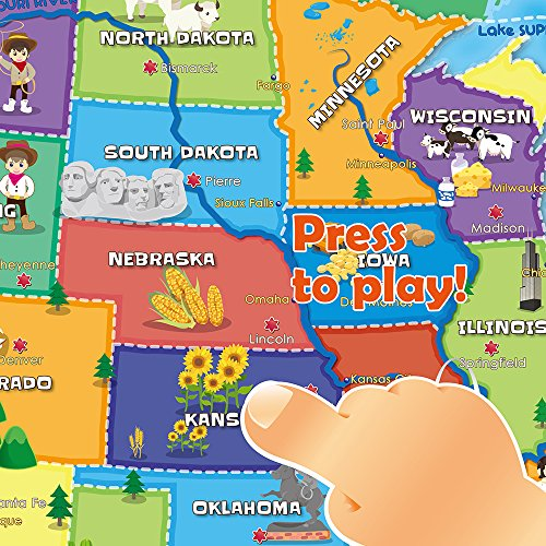 BEST LEARNING i-Poster My USA Interactive Map - Educational Talking Toy for Boys and Girls Ages 5 to 12 Years Old - Ideal Gift for Kids by BEST LEARNING (Image #3)