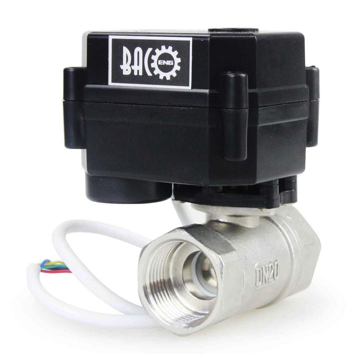 BACOENG 3/4'' DC12V SS304 2 Port Motorized Ball Valve, Electric Ball Valve CR05 NPT