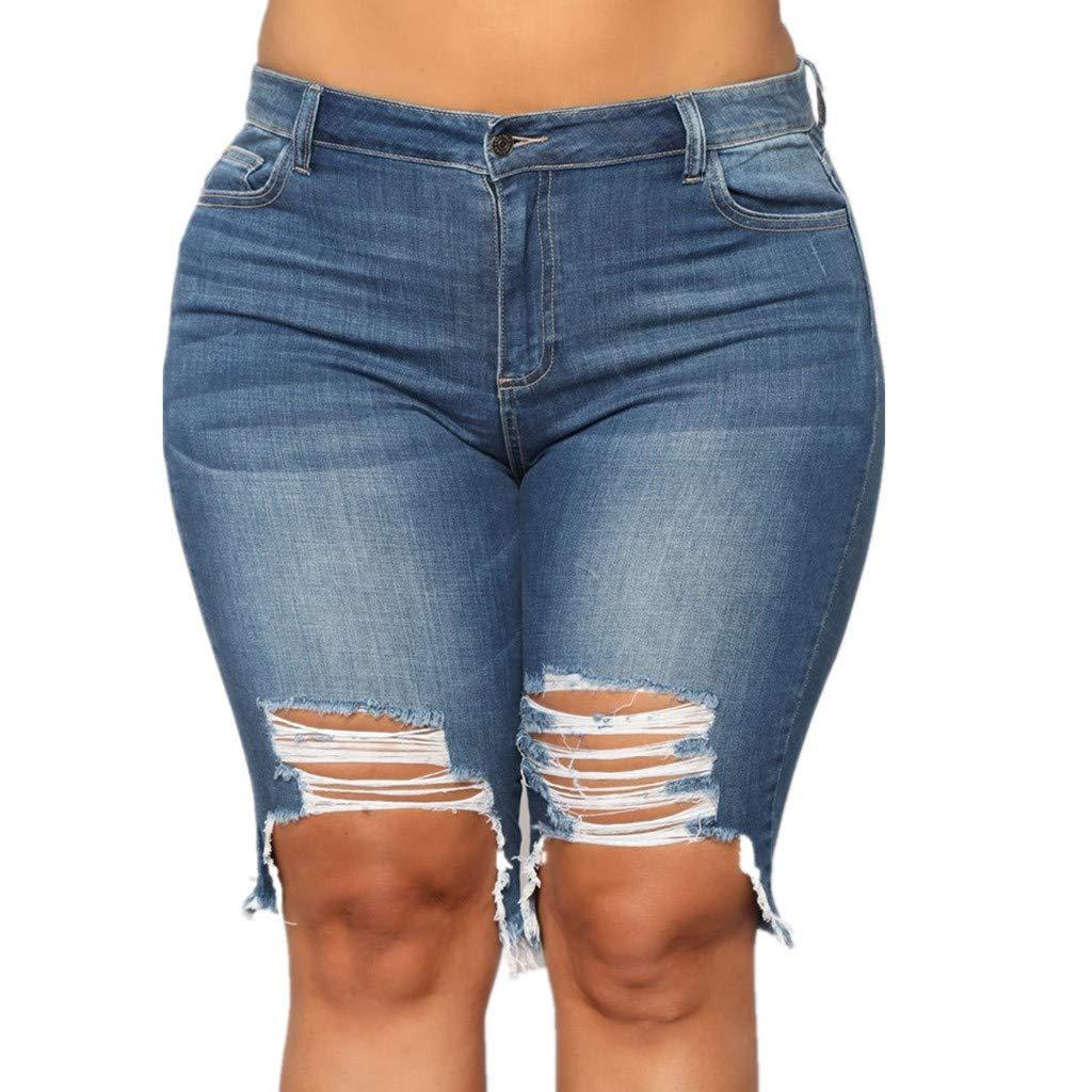 IEason Women Plus Size Mid Straight Denim Summer Fashion Button Pockets Shorts Beach Short