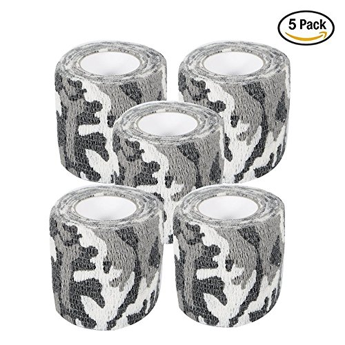 Camo Wrap Tape Military Army Camouflage Tape Cling for Shotguns Hunting Camping, Self-adhesive Protective Stretch Bandage Roll, Non-woven Fabric, 15 ft Length x 2 inch Width, 5-Pack (White Camo) (Wrap Pink Cling)