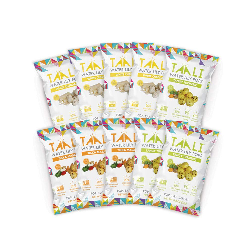 Taali Variety Pack Water Lily Pops (10-Pack) - Three Delicious Flavors | Protein-Rich Roasted Snack | Non GMO Verified - Individual 0.8 oz Bags by Taali