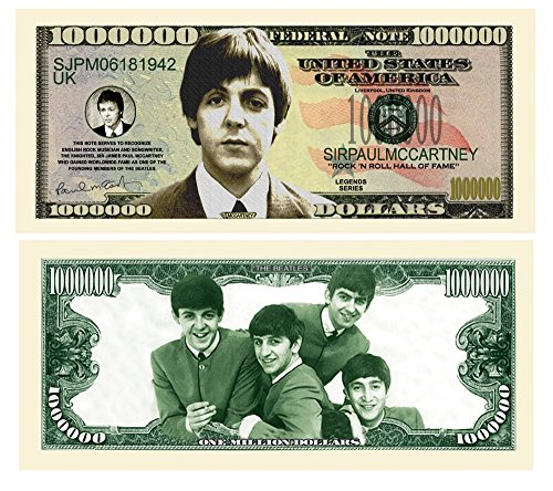 American Art Classics Paul McCartney Million Dollar Bill in Protective Holder
