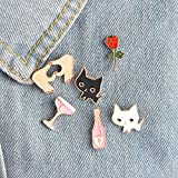 6pcs/Set Black White Cats Rose Champagne Wineglass Heart Brooch Button Pins Denim Jacket Pin Badge Cartoon Fashion Jewelry Gift