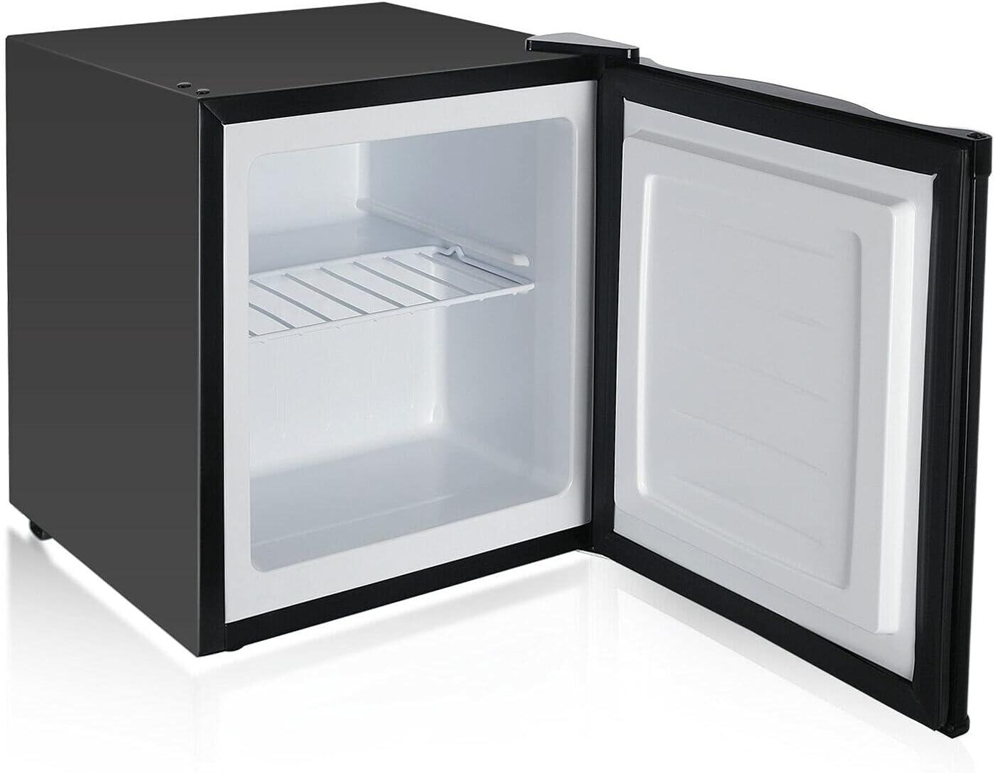 HUIJK Mini Fridge with Freezer Small Refrigerator 1.1 CU FT Reversible Door Bedroom