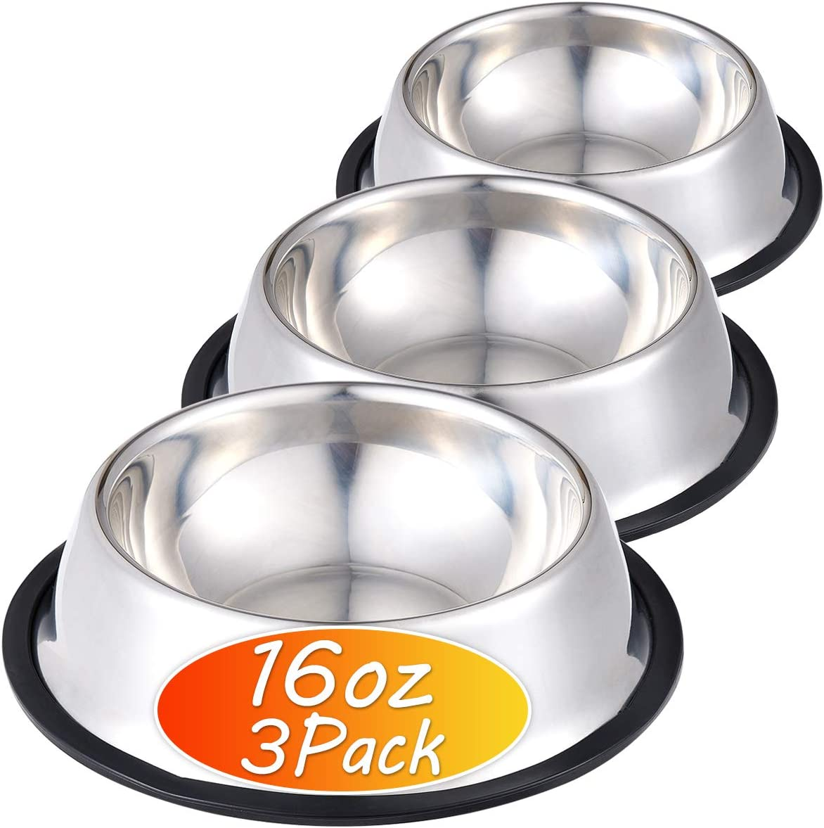 Stainless Steel Dog Bowl with Rubber Base for Food and Water, Pet Food Container, Perfect Choice for Small/Medium Dogs or Cats