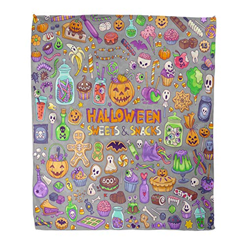 Emvency Throw Blanket Warm Cozy Print Flannel Halloween Candies Sweets Snacks and Drinks for Trick Treating Kids Party Comfortable Soft for Bed Sofa and Couch 50x60 Inches