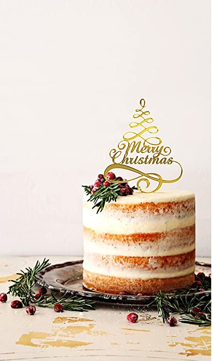 usa sales merry christmas cake topper selection color shiny red or mirror - Christmas Cake Decorations Amazon