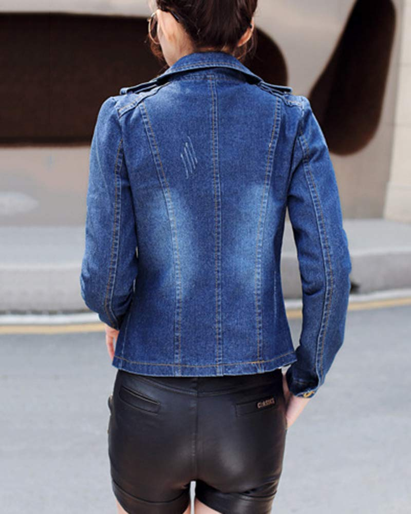 GladiolusA Donna Casual Slim Fit Giacca in Jeans Biker Manica Lunga Jean Jacket Cappotto Denim Outerwear