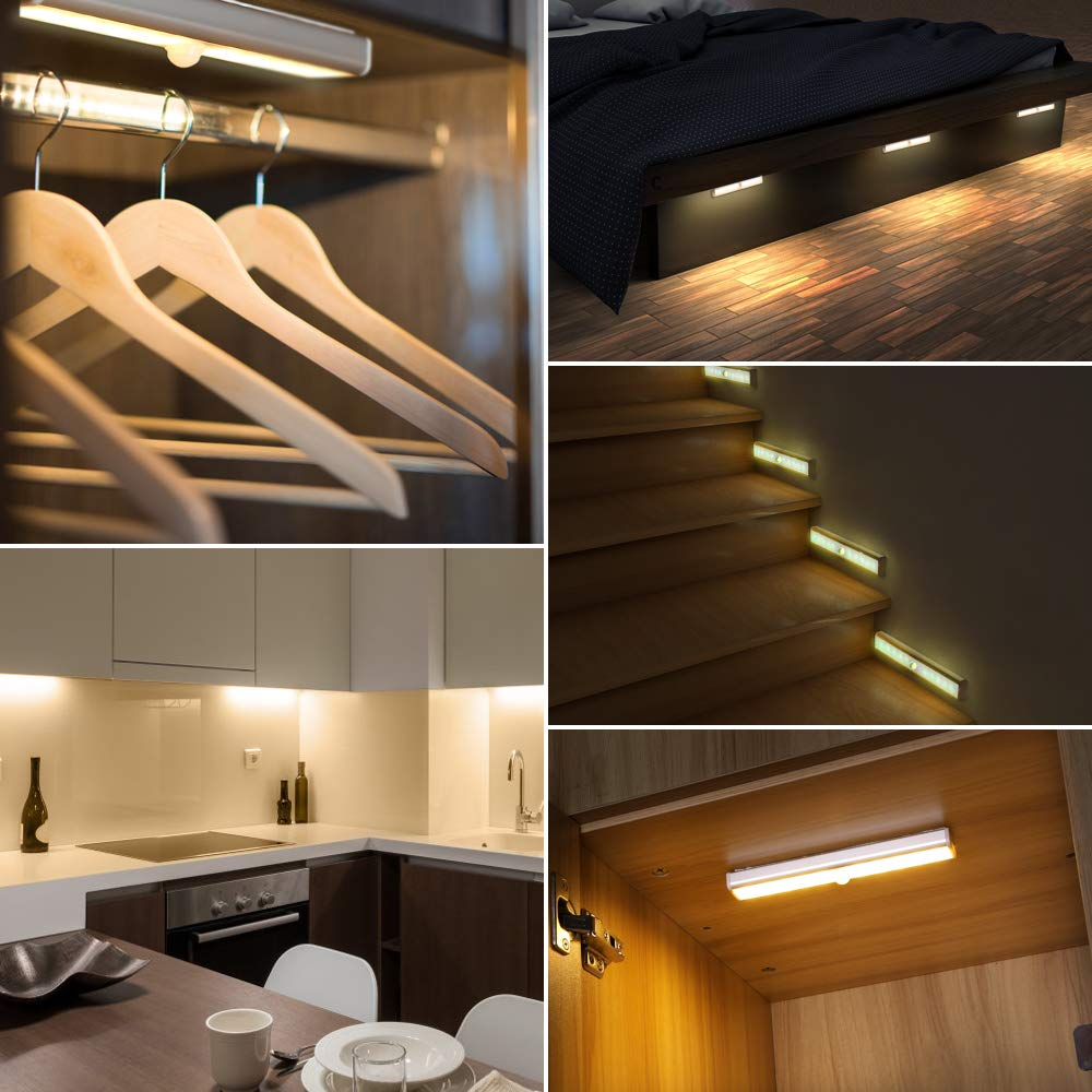 Cupboard Lights Wireless USB Rechargeable Battery with Magnetic Strips Stick up Cabinet Wardrobe Stairs Kitchen Wall 20 LED Under Cabinet Lighting,