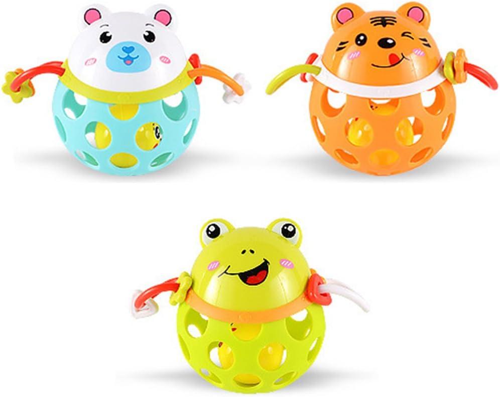 Isuper Sonajero Bebé,Juquete de Pelota,Tentetiesos Forma de Animal Lindo de Silicona Segura Juquete Infantil para niños(Aleatorio)