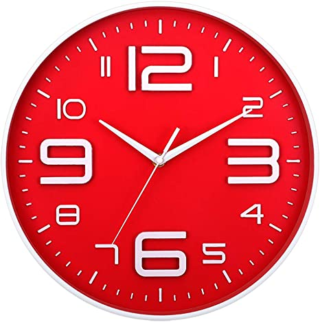 "12/"" Round Luminous Wall Clock Quartz Non Ticking Large Number Battery Operated"