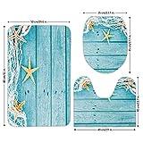 3 Piece Bathroom Mat Set,Starfish Decor,Rustic Wood Boards Fishing Net and Ocean Animals Nautical Print Decorative,Turquoise White Orange,Bath Mat,Bathroom Carpet Rug,Non-Slip