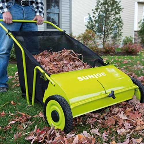 Adjustable Height Control Manual Push Lawn Sweeper by Sun Joe