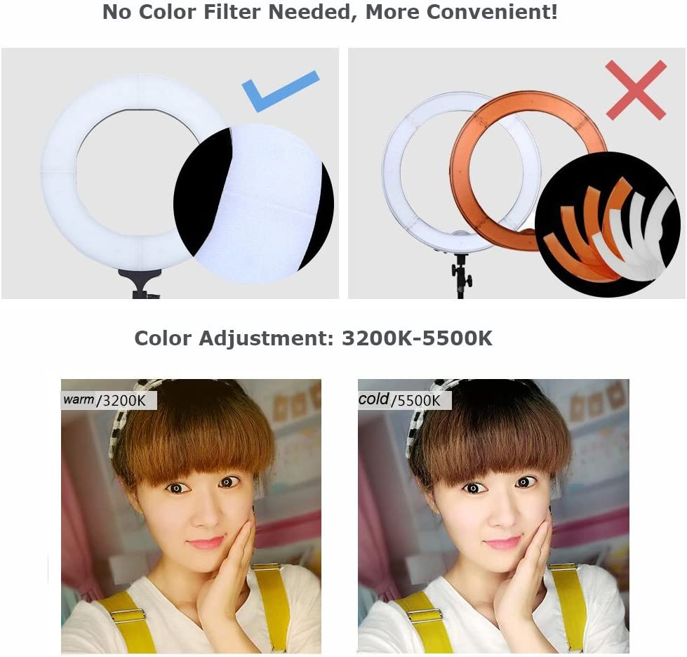 Yidoblo 12 Dimmable Bi-Color LED Light Ring FS-390II Kit with Mini Table Stand Carrying Bag Photo Holder for Portrait Selfie YouTube Photo Video Studio Photography Lighting