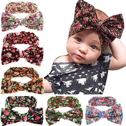 [Jiaqee 6 Pack Baby Girl Bowknot Turban Headband Head Wrap Knotted Hair Band Sets] (Christmas Outfits Women)