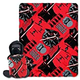 1 Piece 46'' x 71'' Red Star Wars Theme Throw Blanket, Kylo Ren Darth Vader C-3PO Movie Characters Space Galaxy Light Saber TIE Fighter Millennium Falcon Drones Jedi R2-D2 Luke Skywalker, Polyester