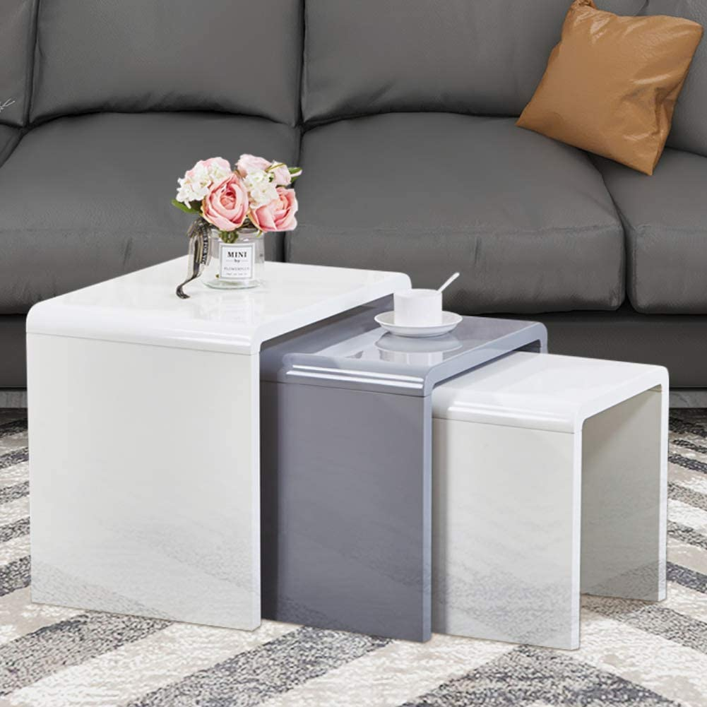 Goldfan Nest Of 3 Tables Modern High Gloss Coffee Table Set Living Room Bedside Tables Multi Functional Side Table White Grey Amazon Co Uk Kitchen Home