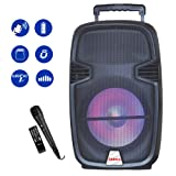 Shinco Portable PA Speaker Bluetooth Sound System 12-inch Woofer Battery Powered Loudspeaker with LED Light, Microphone