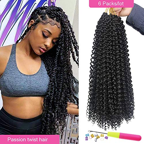 Eerya 6 Packs Passion Twist Crochet Hair Water Wave Bohemian Braids for Passion Twist Crochet Braiding Hair Hot Water Setting Itch Free Synthetic Fiber Natural Hair (6Packs 18Inch, 1B# Natural Black)