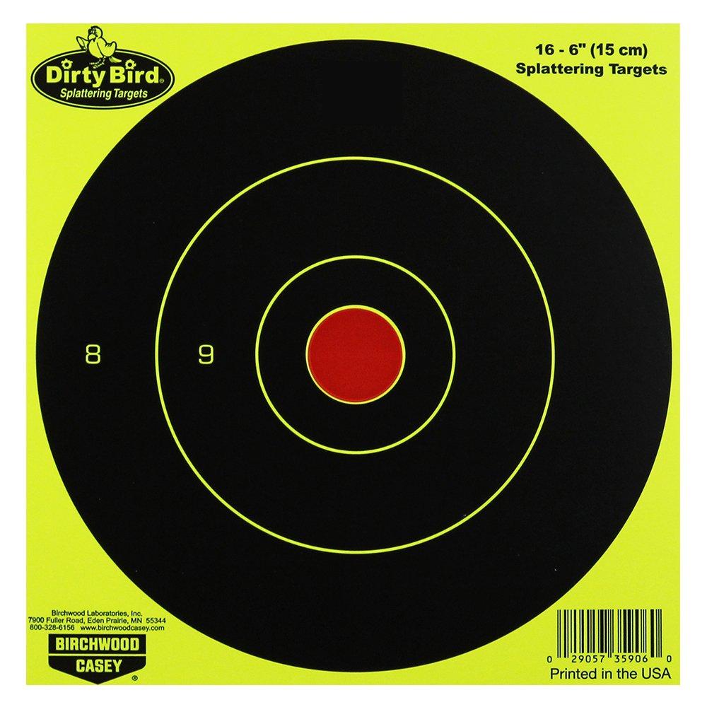Birchwood Casey Dirty Bird Chartreuse Bull's-Eye Target (Per 100), 6-Inch