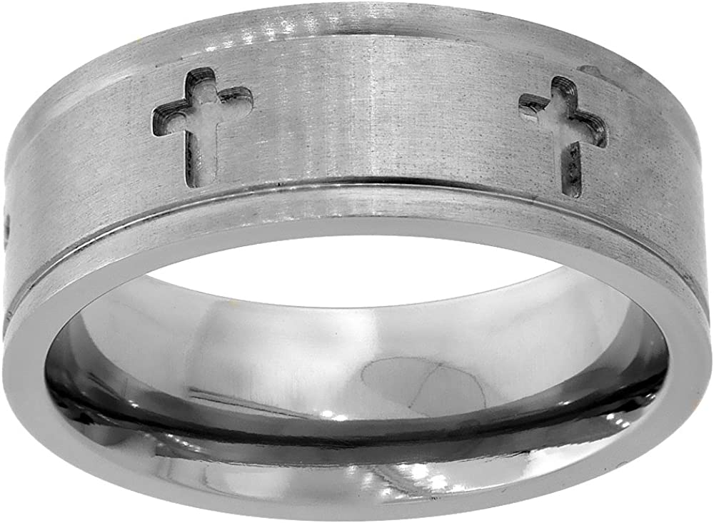8mm Titanium Wedding Band Cross Ring Deep Carving Grooved Edges Flat Comfort Fit Sizes 6-14