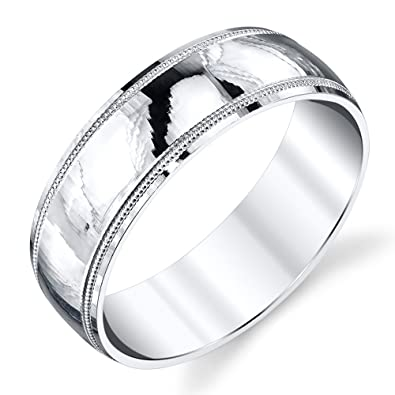 925 Sterling Silver Mens Wedding Band Ring Milgrain Comfort Fit
