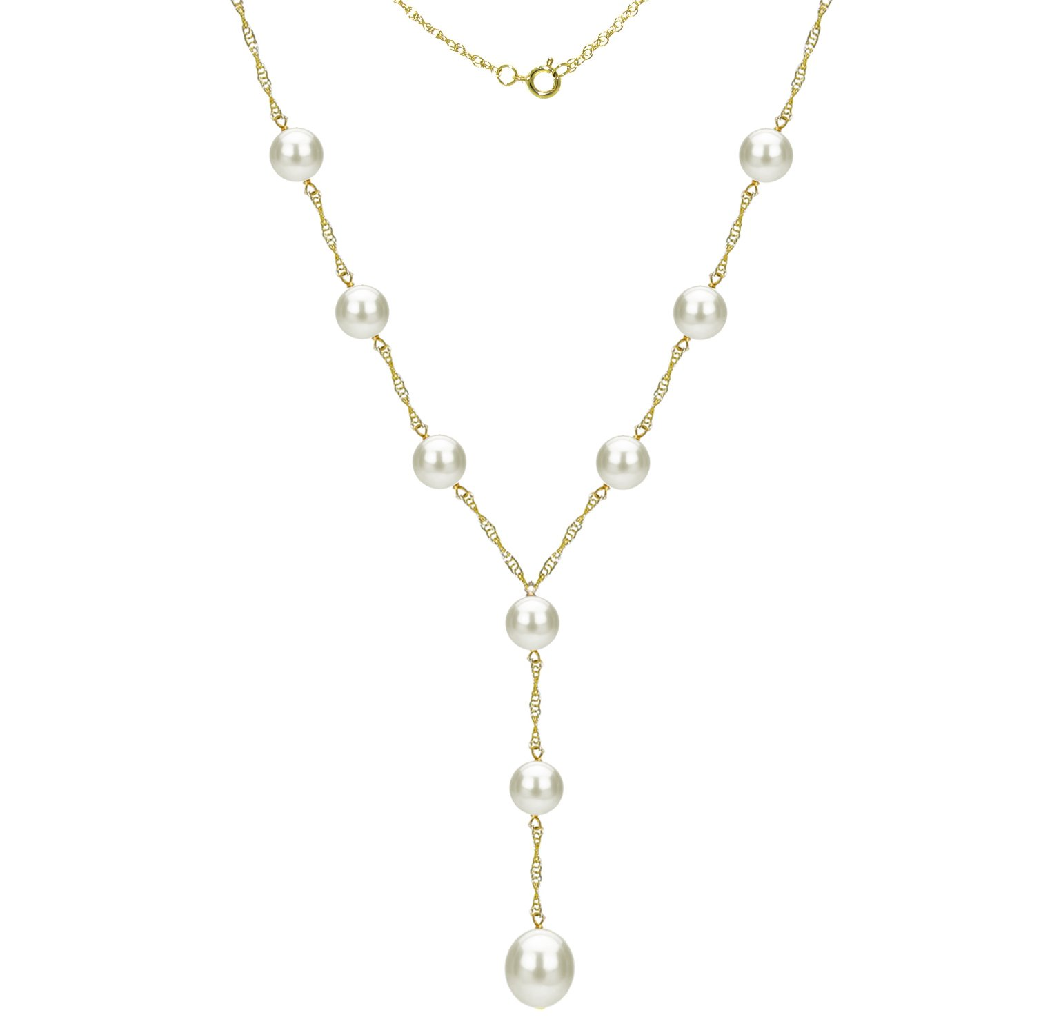 14k Yellow Gold 8-8.5mm and 9-9.5 White Freshwater Cultured Pearl Station Necklace, 18'' + 2'' Drop