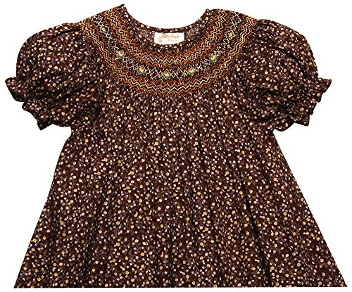 Fall Bishop Dress (Rosalina Girl's Flower Print Brown English Hand Smocked Fall Bishop Dress 6Y)