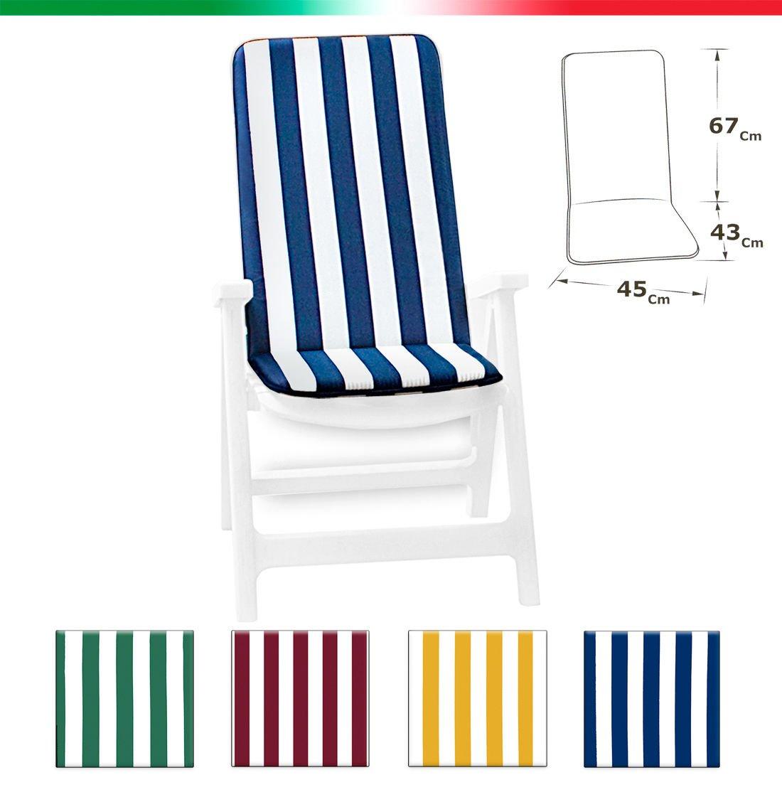 Cuscino copri sedia UNIVERSALE morbido seduta poltrona sdraio tessuto cotone per piscina mare giardino mod.IBIZA FASCIATO BLU EMMEVI