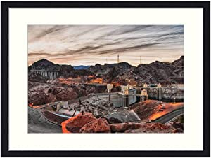 OiArt Wall Art Print Wood Framed Home Decor Picture Artwork(24x16 inch) - Hoover Dam Bridge Dam Hydroelectric Construction