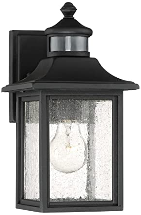 Moray Bay 11 1 2 H Black Motion Sensor Outdoor Wall Light Amazon Com