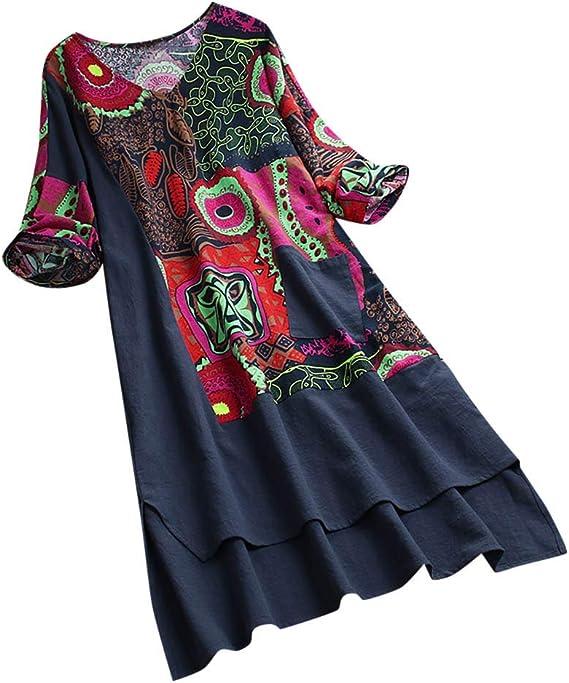 Tootu Women Boho Print Vintage Dress Patchwork Dress Half Sleeves High Low Hem
