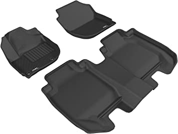 Black 3D MAXpider Front Row Custom Fit All-Weather Floor Mat for Select Hyundai Elantra GT Models Kagu Rubber