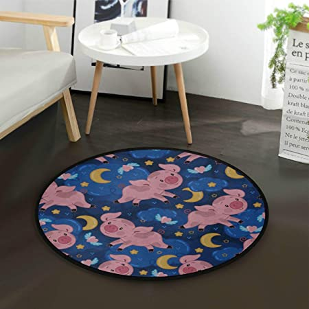 Alfombras de piso para sala de estar Lindo alegre Piggy Moon