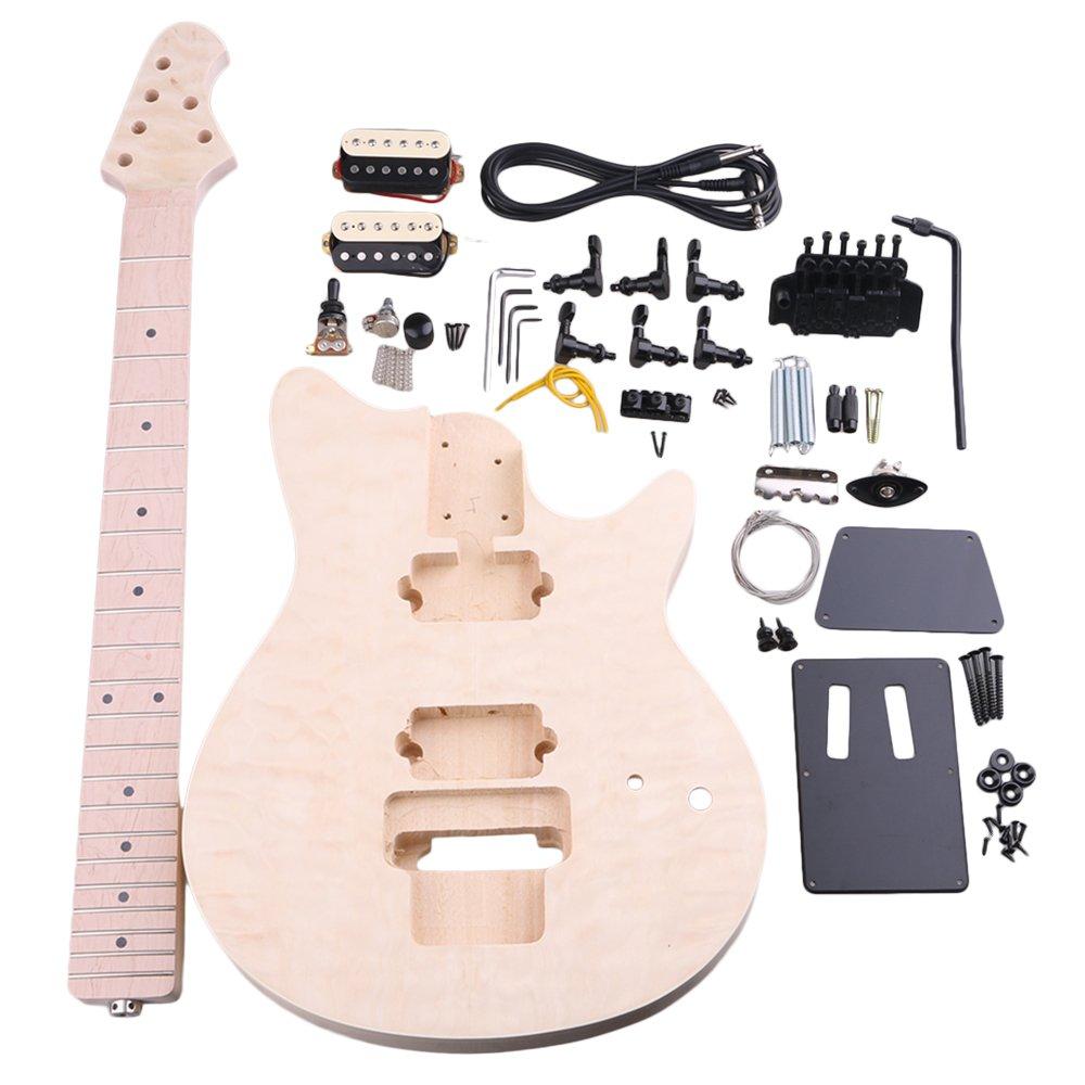 BQLZR madera de tilo Arce mm1-f 6 cuerdas Guitarra eléctrica DIY Kit cuerpo Golpeador Humbucker Pickup puente guitarra clavijas botón de cuello para ...