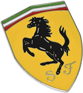 Careflection 3D Fe rrari Yellow Badge Emblem Sticker Decal for Ferrari Car Bike SUV Mobile Laptop (7.5 x 5.3 cm)
