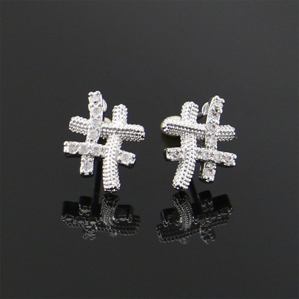 male ear zircon mens earrings. geometric shape Daeou Mens earrings