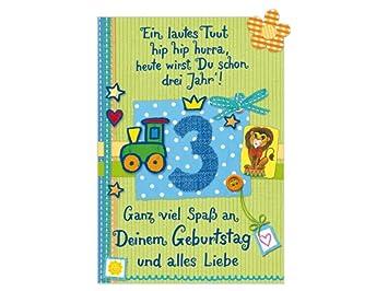 Glückwunschkarte Geburtstagskarte 3. Geburtstag Junge: Amazon.de
