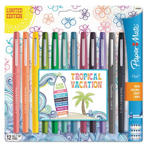 - Papermate Flair Medium Point Porous Markers - Medium Pen Point Type - Assorted Water Based Ink - 12 / Pack (pap-1928605) WLM