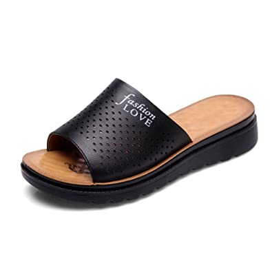 Damen Sommer Flachboden Coole Hausschuhe,Komfortabel und entspannend Weich Fashion Slipper-C Fußlänge=23.3CM(9.2Inch)