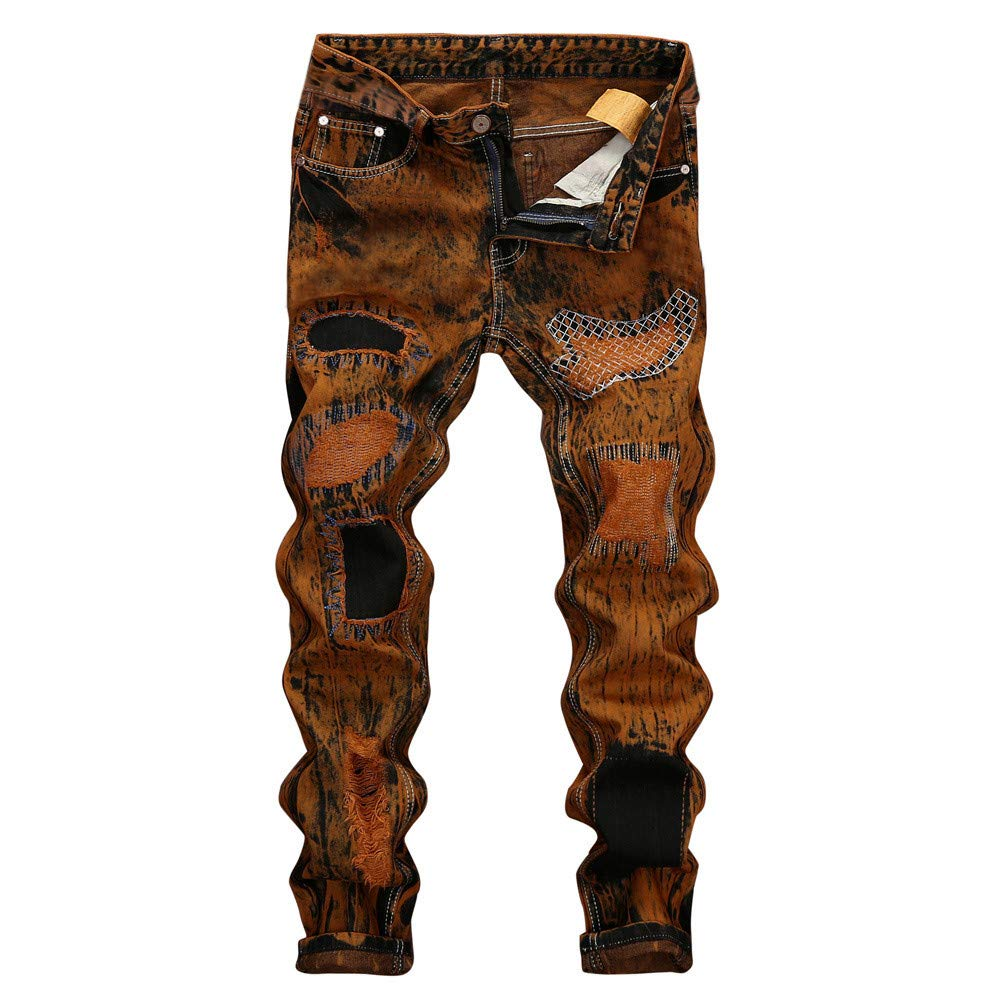 PASATO Men's Vintage Jeans Hole Denim Folds Wash Work Frayed Trousers Basic Pants, Clearance Sale(Orange, 38