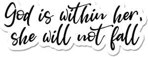 """Bargain Max Decals God is Within Her Window Laptop Car Sticker 4"""" Wide"""